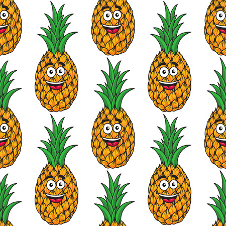 topknot: Happy tropical cartoon pineapple seamless pattern with a laughing face and topknot of fresh green leaves Illustration