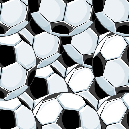 Background seamless pattern of overlapping soccer balls or footballs with a black and white pentagon pattern in square format Vector
