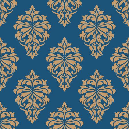 エレガンス ダマスク織シームレスな花柄青の背景、壁紙または生地の設計のための黄金の花を持つ