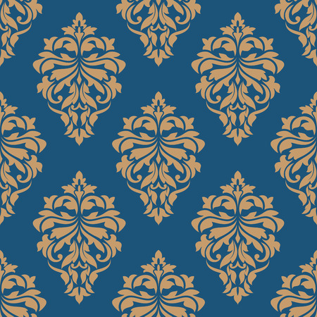 Elegance floral damask seamless pattern with blue background and golden flowers for wallpaper or fabric design