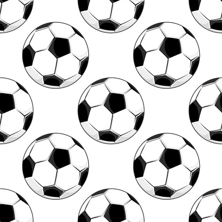 Seamless background pattern of soccer balls with the traditional black and white pentagonal pattern in square format suitable for wallpaper design Vector