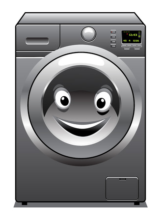 Cute cartoon silver washing machine with a happy face in the door, isolated on white background Vector