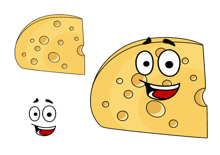 edam: Two pieces of cheese with holes, one with a happy smiling face and the other plain with the face element separate, isolated on white