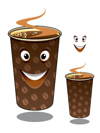 hot coffees: Two cartoon takeaway coffees in mugs decorated with coffee beans and hot steam, one with a happy smiling face and one without and with the smile element separate