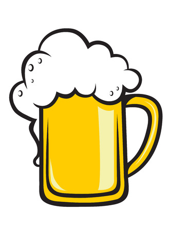 Frothy tankard of golden beer with a good head of froth overflowing the glass, isolated on white Vector