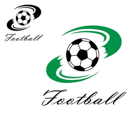 bannière football: Football ou symbole de football avec tourbillon formes vertes de billes pour la conception de sport Illustration