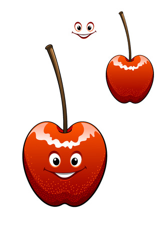 Happy ripe red cherry with a smiling face and long stalk with a second variant with no face and the smile element separate, isolated on white