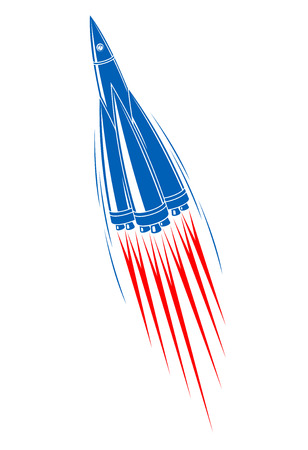 Zooming rocket with turbo boost and fiery motion trails, cartoon illustration on white background Vector