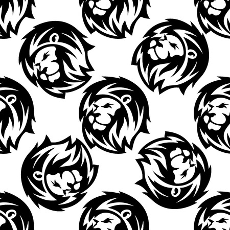 Seamless pattern of a proud lion with a bushy mane in a repeat scattered motif Vector