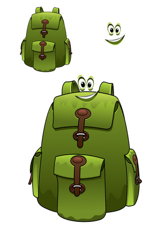 knapsack: Green rucksack or backpack with a cute grin with a second variant with no face and a separate smile element for travel and tourism design Illustration