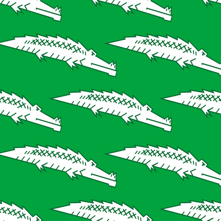 Stylized green crocodile or alligator seamless pattern with a repeat motif in square format Vector