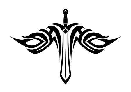 sword silhouette: Black and white tattoo of a sharp sword with flowing wings in tribal style Illustration