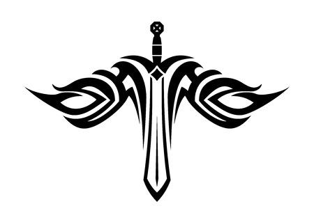 Tatouage noir et blanc d'une épée aiguë, à ailes fluides dans le style tribal Banque d'images - 28826959