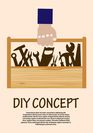 DIY concept with range of hand tools in a wooden toolbox being carried by a hand Vector