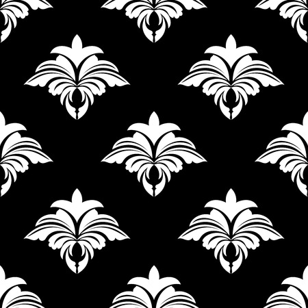foliate: Classic retro seamless floral pattern in white and black colors for wallpaper design