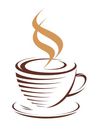 Bruin en wit vector doodle schets van een kop warme dampende koffie, geïsoleerd op wit