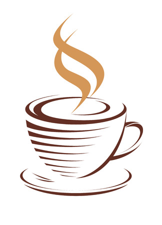 Brown and white vector doodle sketch of a cup of hot steaming coffee, isolated on white Illustration