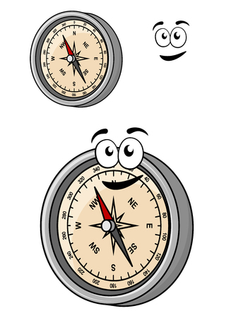 no face: Angled cartoon magnetic compass with a smiley face and metal surround with a second version with no face and a separate smile element