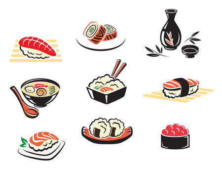 soy sauce: Set of Japanese seafood icons with , sushi, sashimi, seafood, soup, rice with prawns, caviar, and fish fillet, isolated on white