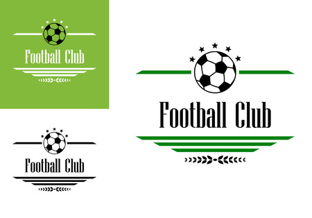 Football or soccer club symbol with ball, stars, text and dividers for sports design Vector