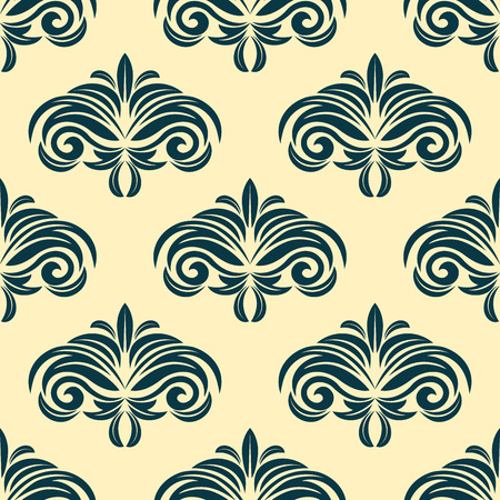dainty: Vintage floral seamless pattern background with dainty green flowers on beige backdrop