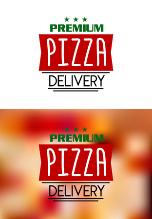 Pizza delivery labels isolated on white and on colour background for fast food and pizzeria design Vector