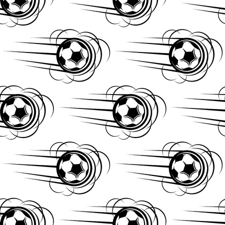 Speeding soccer ball seamless pattern with motion lines and bounce or roll effect in black and white repeat motifs, square format Vector