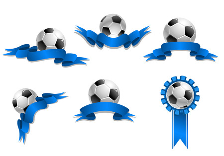 Set of six soccer balls with blank blue ribbons isolated on white background for sports design Vector