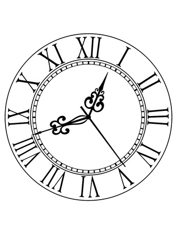La cara de reloj blanco y negro con números romanos y las manos enrollados adornado de la vendimia Vectores