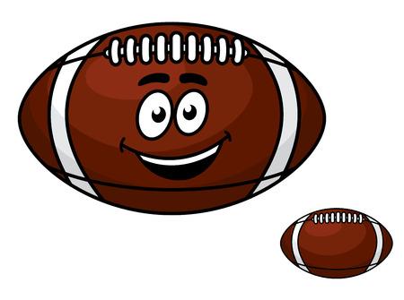 pelota rugby: Fútbol de cuero marrón con una cara sonriente feliz con una segunda bola sin rostro Vectores