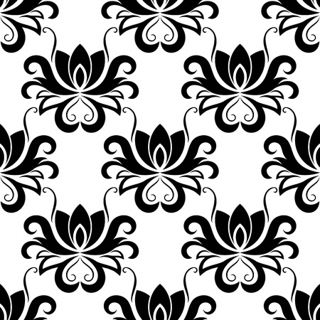 dainty: Black and white dainty floral seamless pattern with decorative bold flowers Illustration