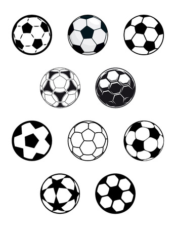 Set of different black and white soccer or football balls with a variety of pentagonal patterns, isolated on white background Vector