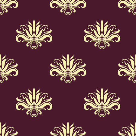 Dainty beige colored floral seamless pattern with decorative beige flower elements isolated over purple background in square format Vector