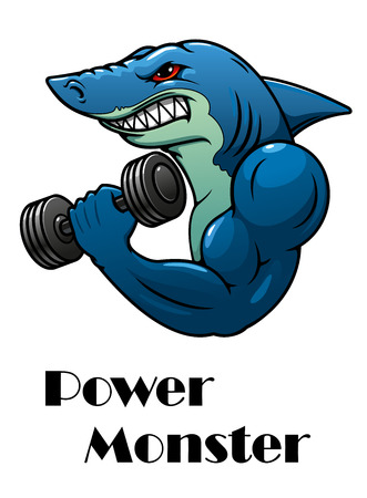 killer: Shark athlete mascot with dumbbells in cartoon style for sports design Illustration