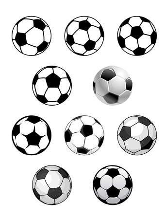 Set of soccer and football balls isolated on white background for sports design Vector