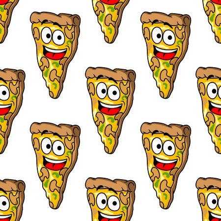 Seamless pattern of mushroom cartoon pizza  slices with melted cheese and a happy smiling face in square format Vector