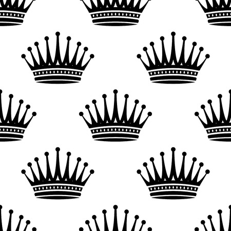 Black and white silhouette Royal crown seamless background pattern with a repeat motif in square format suitable for wallpaper, tiles and fabric Vector
