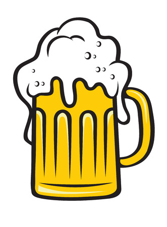 Tankard of golden lager, ale of beer with a big frothy head overflowing the sides of the glass isolated on white background Illustration