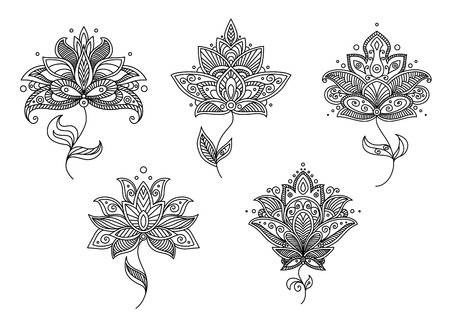 persian art: Ornate calligraphic black and white floral motifs in Persian paisley style for design isolated on white background Illustration