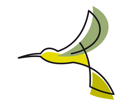 Colorful doodle sketch in flowing lines of a flying stylized hummingbird on white background Vector