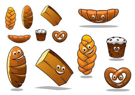 plaited: Amplio conjunto de dibujos animados panes de pan con una barra de pan franc�s, panecillos, pan trenzado crujiente, magdalenas, croissants y pan blanco, aislado en blanco Vectores
