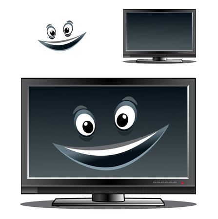 Happy computer monitor or television screen with a big smile on the screen and a second variant with no smile and a separate face element Vector