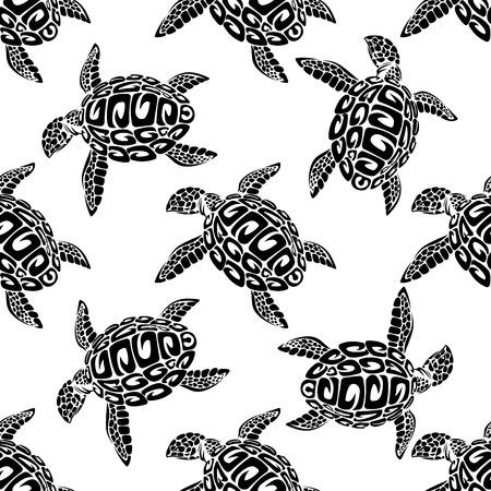 正方形のフォーマットに適した敵壁紙や織物でシームレスな背景パターンで泳いでいるウミガメの黒と白のイラスト