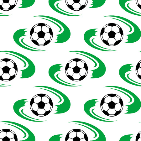 either: Soccer ball or football seamless pattern with flowing green lines depicting the field on either side of each ball Illustration