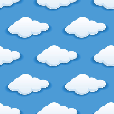 Seamless background pattern of white fluffy clouds in blue sky suitable for childrens wallpapers, tiles, textile and design backgrounds in square format Vector