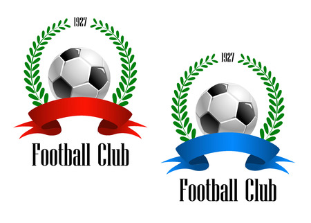 Football Club label established in 1927 with a foliate wreath enclosing football or soccer ball with red and blue ribbons. Text Football Club at the foot of the design. Vector