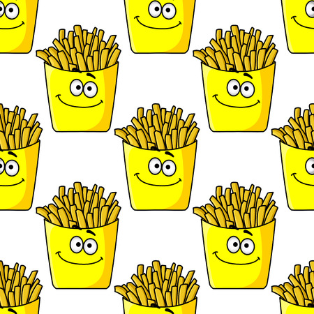 prepared potato: Smiling takeaway packets of French fries in a yellow seamless background pattern in square format
