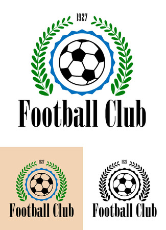 Emblems of Football Club established in 1927 with foliate wreath enclosing football with the text Football Club in retro style Vector