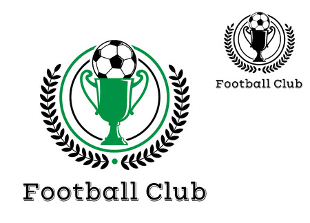 soccer field: Football Club Championship crests or emblems with foliate wreath enclosing the trophy with football on top with text Football Club at the foot of the design