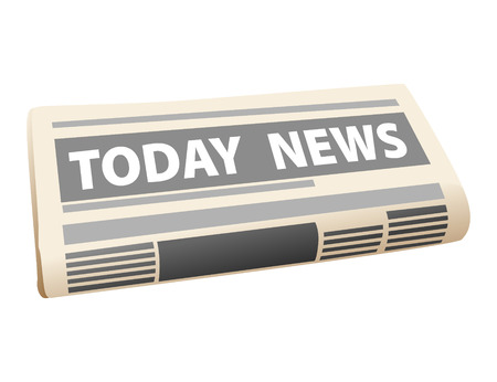 news current events: Folded cartoon newspaper icon with the header Todays News, isolated on white background